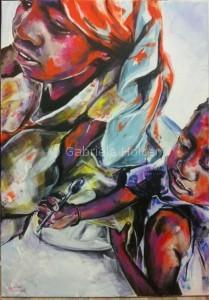 gabriela holcer african children playing with the spoon>african girls on a beach>acrylic on canvas>fluorescent colors>big painting>modern impressionist artmalé afričanky na pláži>hrajúce sa africké deti>akryl na plátne>fluorescentné farby>veľký obraz>moderný impresionizmus