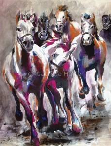 gabriela holcer wild mustangs>horses running free>acrylic on canvas>fluorescent colors >big painting>modern impressionist artkone>divoké mustangy>voľne cválajúce kone>akryl na plátne>fluorescentné farby>veľký obraz>moderný impresionizmus