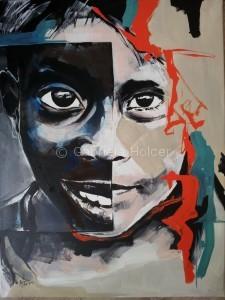 gabriela holcer portrait of a child>big eyes>child looking at you>acrylic on canvas>crazy colors> modern impressionist artportrét dieťaťa>veľké detské oči>deti sveľkými očami>akryl na plátne>žiarivé farby>moderný impresionizmus