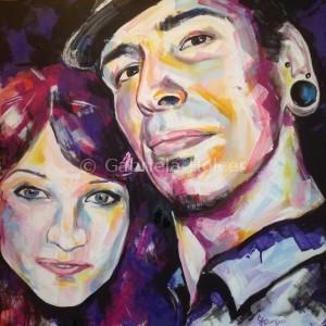 gabriela holcer portrait of a couple >boy and girl>man wearing a hat>redhead girl>acrylic on canvas>fluorescent colors>modern impressionist artdvojportrét>chlapec a dievča>muž v klobúku>ryšavé dievča>akryl na plátne>fluorescentné farby>moderný impresionizmus