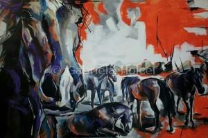 gabriela holcer wild mustangs > horses running free >a horse looking at you>acrylic on canvas>fluorescent colors >big painting>modern impressionist artkone>divoké mustangy>voľne cválajúce kone>akryl na plátne>fluorescentné farby>veľký obraz>moderný impresionizmus