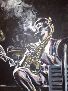 gabriela holcer portrait of a man>portrait of a saxophonist>smoking jazzman in ahat holding a saxophone>acrylic on canvas>fluorescent colors>modern impressionist artdžezový hudobník>hudobník>saxofonista >hudobník s cigaretou>akryl na plátne>moderný impresionizmus