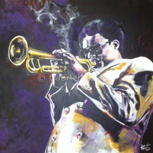 gabriela holcer portrait of a man>jazzman wearing sunglasses>portrait of a trumpetist >smoking jazzman>acrylic on canvas>modern impressionist artdžezový hudobník>hudobník>portrét trúbkara >hudobník s cigaretou>akryl na plátne>moderný impresionizmus