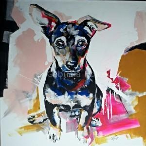 gabriela holcer little puppy withbig ears>sad dog from the shelter >acrylic on canvas>fluorescent colors> modern impressionist artmalé šteniatko sveľkými ušami>psík z útulku>akryl na plátne>fluorescentné farby>moderný impresionizmus