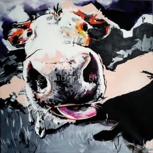 gabriela holcer portrait of acow with a big tongue>cow on a meadow>funny cow>acrylic on canvas>fluorescent colors >big painting>modern impressionist artmaľba kravy sveľkým jazykom>krava na lúke>smiešna krava>akryl na plátne>fluorescentné farby>veľký obraz>moderný impresionizmus