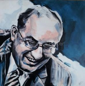 gabriela holcer portrait of a man>smiling man with glasses>man with blue backround>acrylic on canvas>modern impressionist artportrét muža>smejúci sa muž v okuliaroch>muž smodrým pozadím> akryl na plátne>žiarivé farby>moderný impresionizmus
