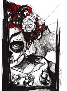 gabriela holcer marker sketch ofla muerte girl>sketch of ared head girl>flowers in the head>black and red marker on paper>modern impressionist artportrét>kresba la muerte>červenovlasé dievča>kvety vo vlasoch>kresba čiernou fixkou>moderný impresionizmus>kolorovaná perokresba>perokresba>čierno biela kresba
